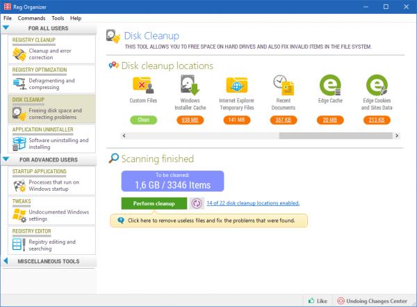 Disk Cleaner in Reg Organizer 7.80